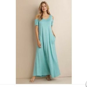 Soft Surroundings Electra Teal Maxi Dress Small